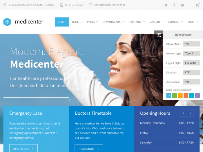 The MediCenter homepage. A the top is the logo and a navigation menu. At the center is a slogan with a background image. At the very bottom are separate widgets for emergency cases, doctors' timetable, and opening hours. On the right appears a style selector which enables you to adjust the page's elements and colors.