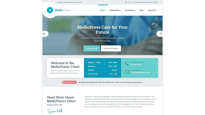 The MedicPress homepage showing a logo and a navigation menu in the header, a background image with a slogan at the center, and the opening hours and contact information below that. At the very bottom is a testimonial section.