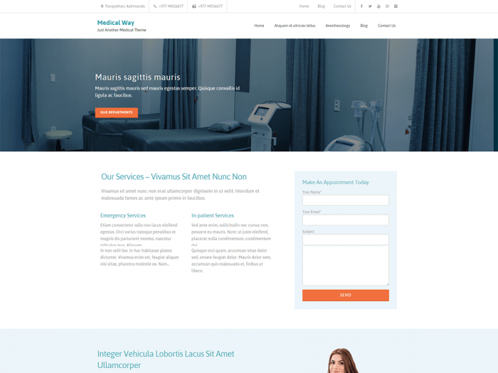 "The Medical Way homepage. At the top is a header menu, and in the middle is a background image with a slogan on top of it. At the bottom is an ""Our Services"" section with an appointment booking form next to it."