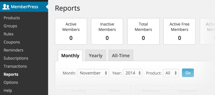 A report as it appears inside the plugin's tab in the WordPress dashboard. There are several boxes next to each other, each showing a figure. There are figures for active members, inactive members, total members, and active free members.