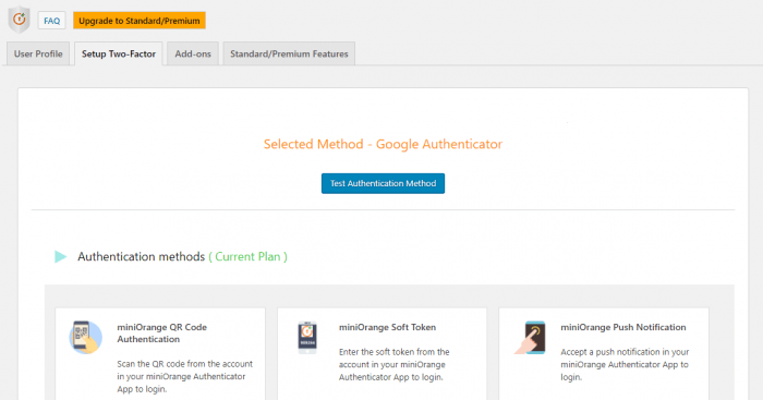 "The plugin's dashboard showing the ""Setup Two-Factor"" tab. At the bottom are the three different miniOrange authentication methods: the QR code, soft token, and push notification."