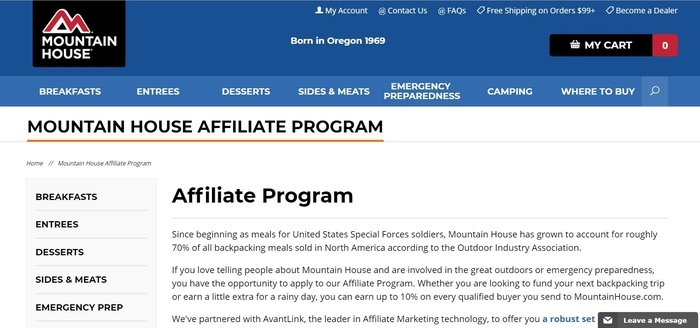 screenshot of the affiliate sign up page for Mountain House