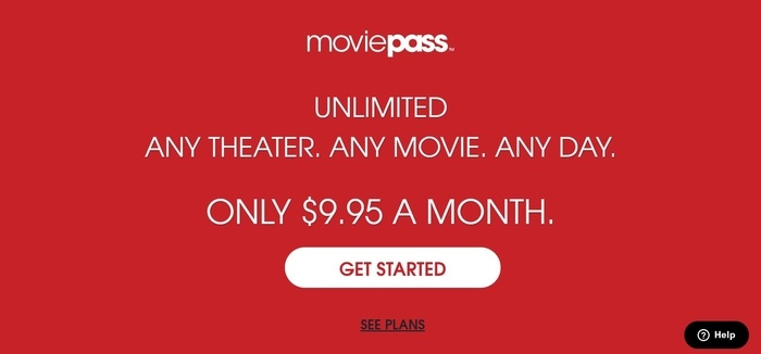 screenshot of the affiliate sign up page for MoviePass