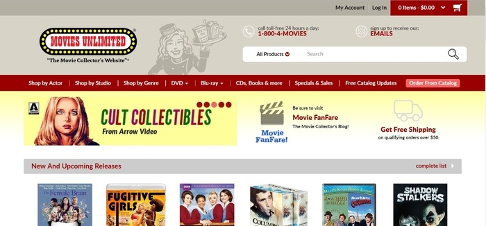 screenshot of the affiliate sign up page for Movies Unlimited