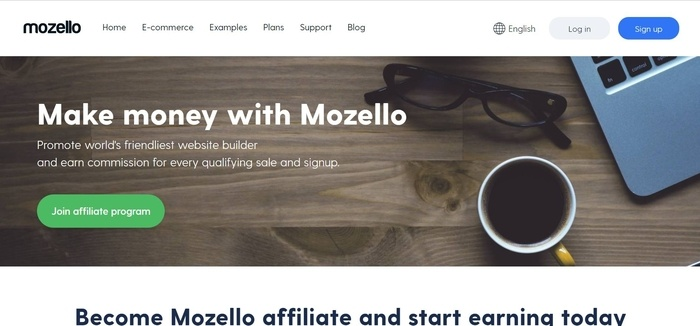 screenshot of the affiliate sign up page for Mozello