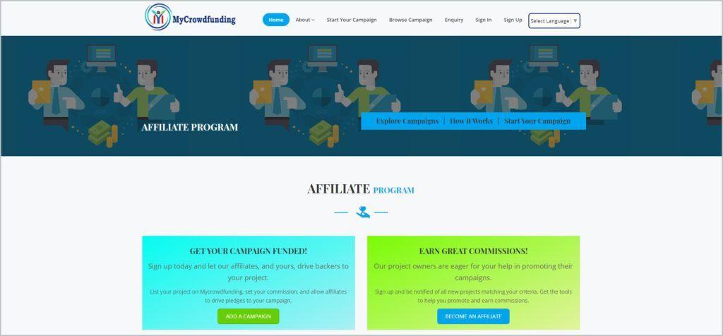 screenshot of My Crowdfunding web page