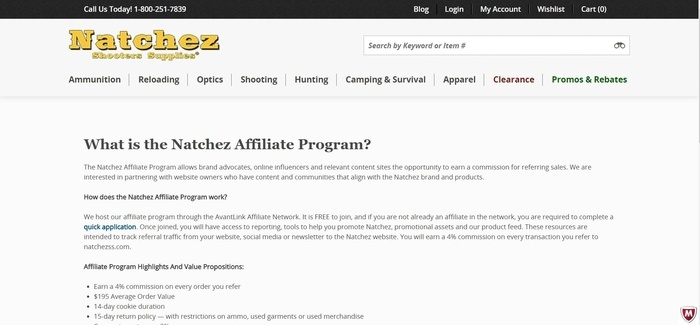 screenshot of the affiliate sign up page for Natchez Shooters Supplies