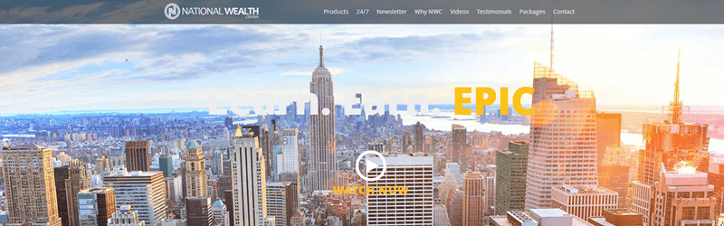 National Wealth Center website screenshot showing the skyline of a city with many tall buildings.
