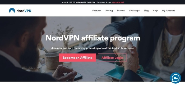 screenshot of the affiliate sign up page for NordVPN