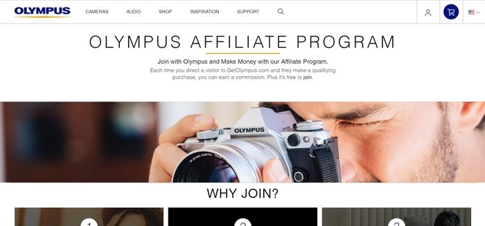 screenshot of the affiliate sign up page for Olympus