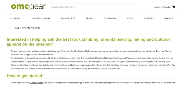screenshot of the affiliate sign up page for Oregon Mountain Community