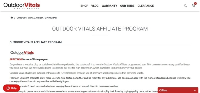 screenshot of the affiliate sign up page for Outdoor Vitals