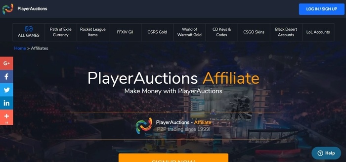 screenshot of the affiliate sign up page for PlayersAuctions
