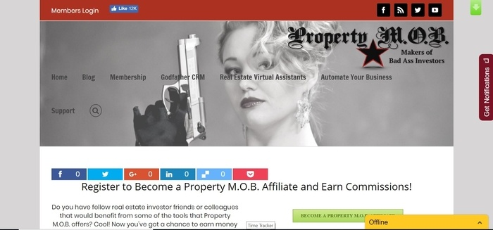 screenshot of the affiliate sign up page for Property M.O.B.