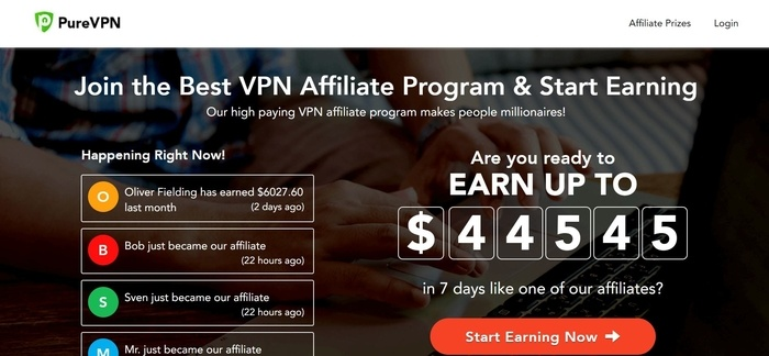 screenshot of the affiliate sign up page for PureVPN