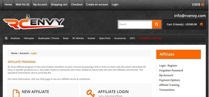 screenshot of the affiliate sign up page for RC Envy