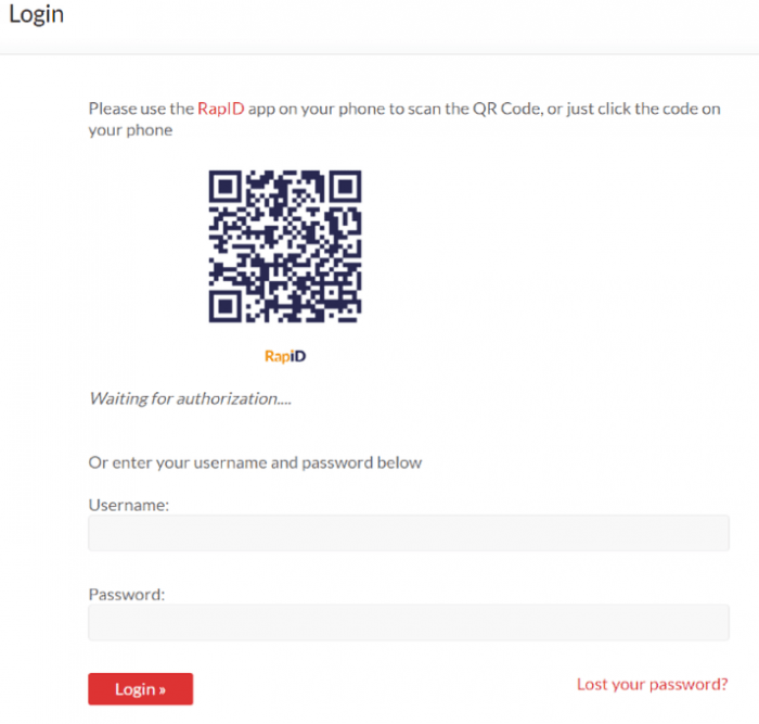 The RapID QR code scanning screen. The user can either scan the code or enter the login information in the fields below.