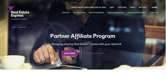screenshot of the affiliate sign up page for Real Estate Express