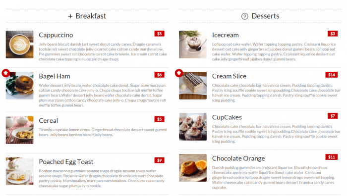 A double-column menu as it appears on the frontend. The menu shows the breakfast category in the left column and the desserts category on the right. Under each category, the items are listed with a description, a thumbnail, and a red box for the price.