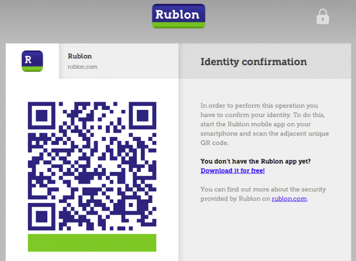 "A Rublon screen showing a QR code with a clarification of the process titled ""Identity Confirmation"" to its right. A link to the app download page is attached to the text."