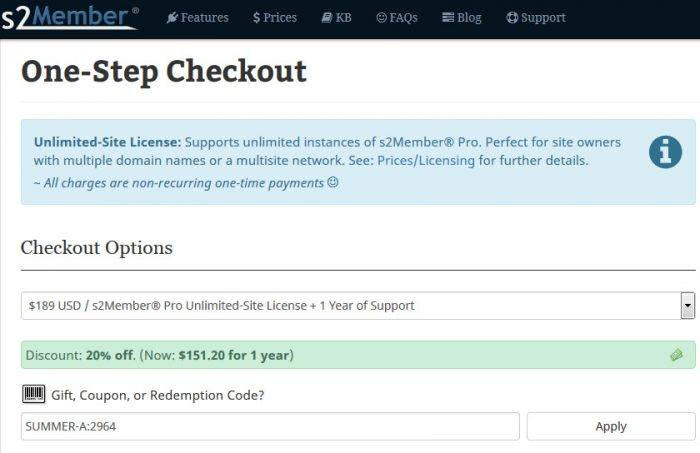 The One-Step Checkout page. Below the headline there is an alert message, then there are the chekout options. At the bottom there is a field for gift, coupon, or redemption codes which can be applied to the purchase.