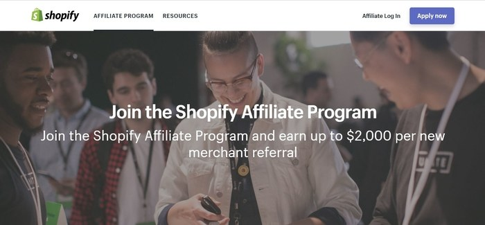 screenshot of the affiliate sign up page for Shopify