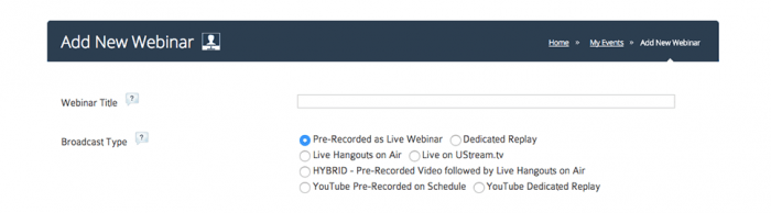 """Add New Webinar"" window with a field for the webinar title and a list of broadcast types to choose from."