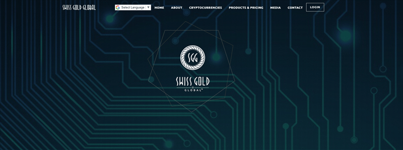 Swiss Gold Global website screenshot showing what looks like a blue-green chipboard.