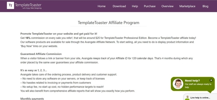 screenshot of the affiliate sign up page for TemplateToaster
