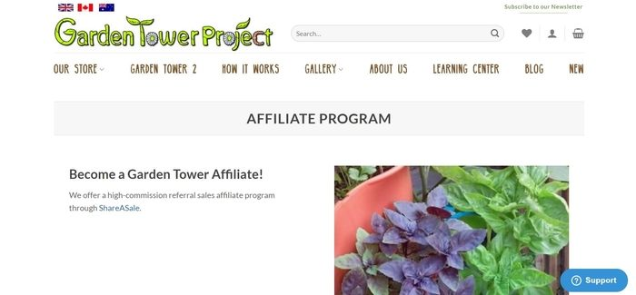 screenshot of the affiliate sign up page for The Garden Tower Project