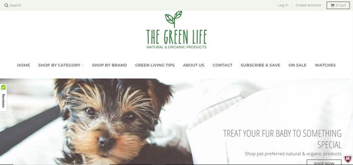 screenshot of the affiliate sign up page for The Green Life