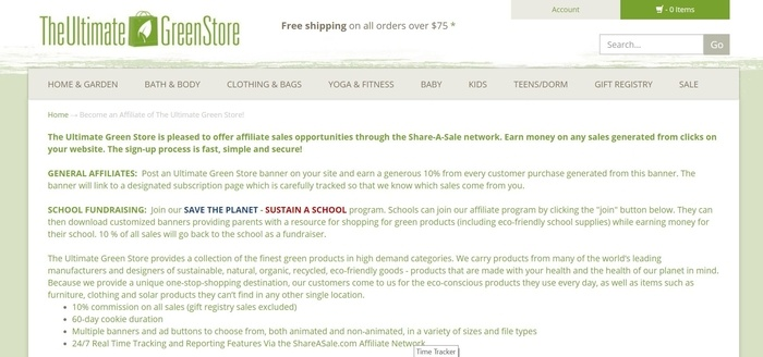 screenshot of the affiliate sign up page for The Ultimate Green Store