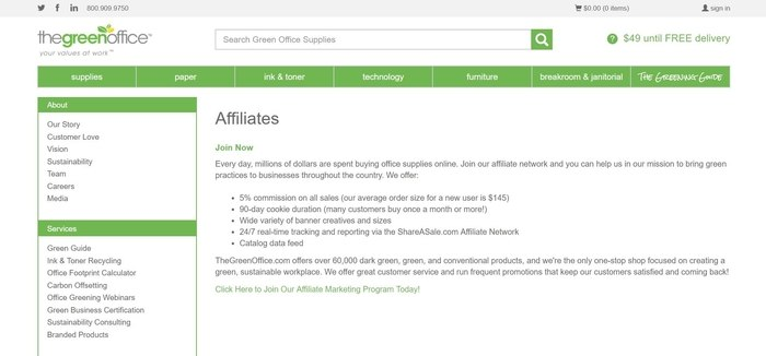 screenshot of the affiliate sign up page for TheGreenOffice.com