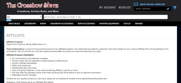 screenshot of the affiliate sign up page for Thecrossbowstore