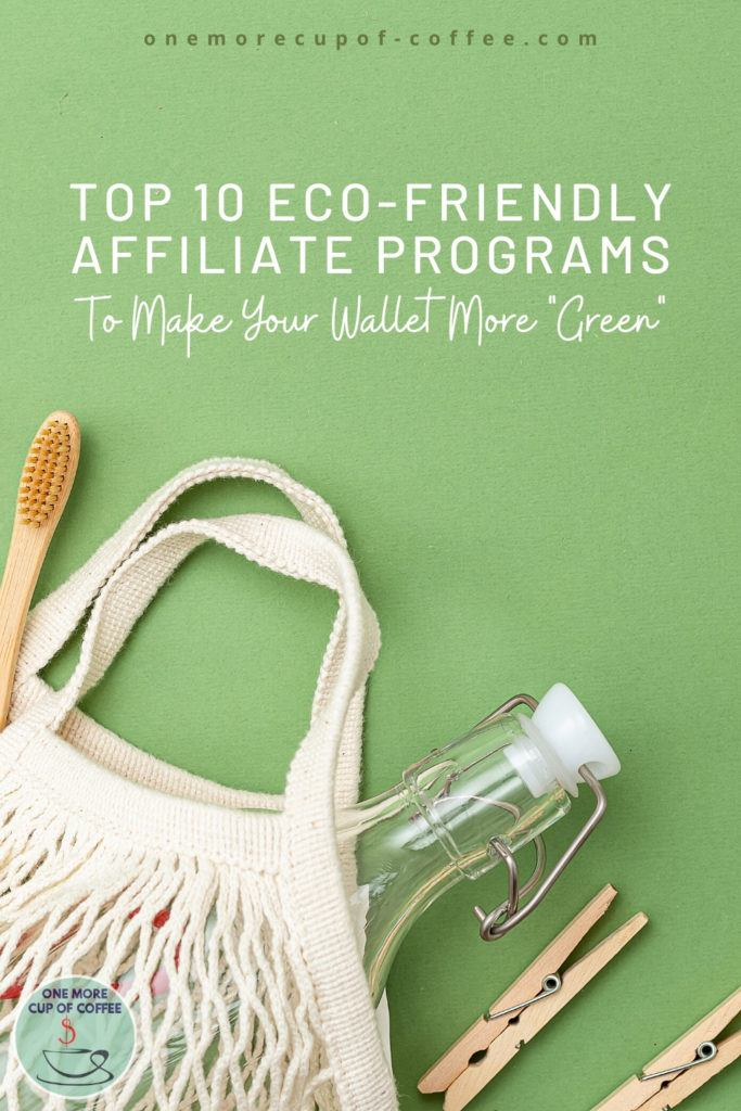 """laid out eco-friendly products such as bottle, toothbrush, clothes pin, bag, in green background with text at the top """"Top 10 Eco-friendly Affiliate Programs To Make Your Wallet More Green"""""""