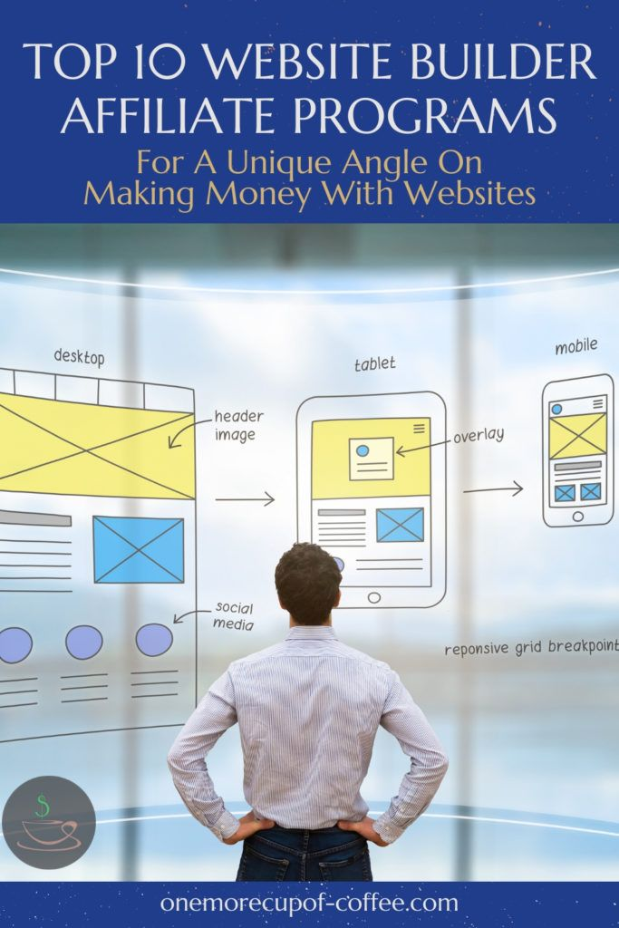 """man's back to the camera with hands on hips  looking at a diagram of website design, with text at the top """"Top 10 Website Builder Affiliate Programs For A Unique Angle On Making Money With Websites"""""""