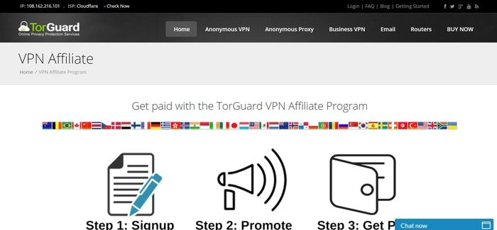 screenshot of the affiliate sign up page for Torguard