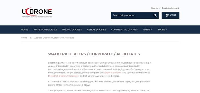 screenshot of the affiliate sign up page for UC Drone