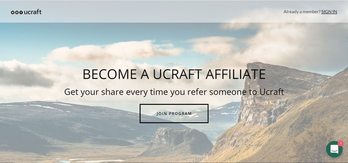 screenshot of the affiliate sign up page for Ucraft