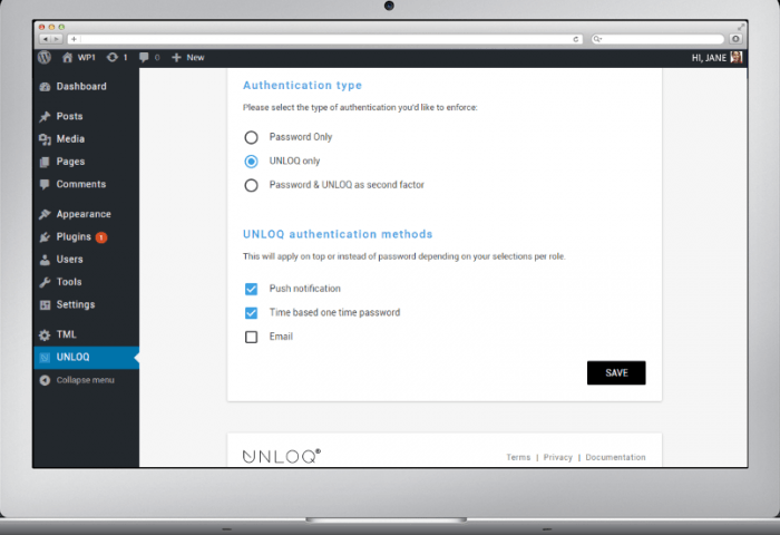 The Unloq tab inside the WordPress dashboard showing the authentication types and methods to be activated during the setup of the plugin.