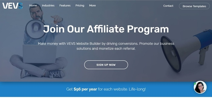 screenshot of the affiliate sign up page for VEVS