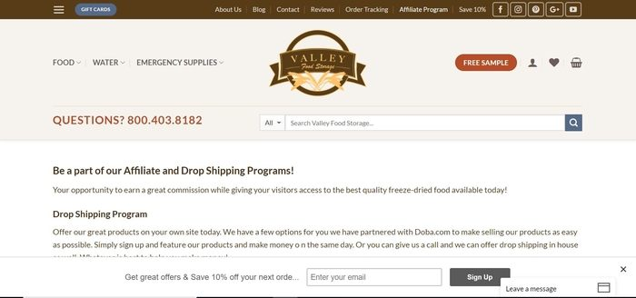 screenshot of the affiliate sign up page for Valley Food Storage