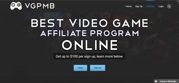 screenshot of the affiliate sign up page for Video Games Pay My Bills