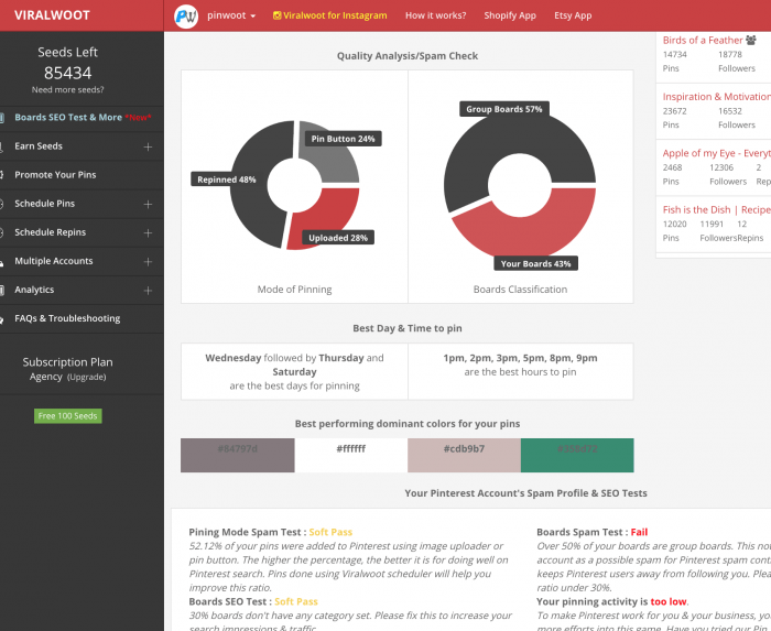 The Quality Analysis/Spam Check dashboard showing a pie chart for each. Below that are recommendations on the best day and time to post. At the bottom are a bunch of spam profile and SEO tests.