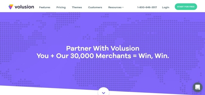 screenshot of the affiliate sign up page for Volusion