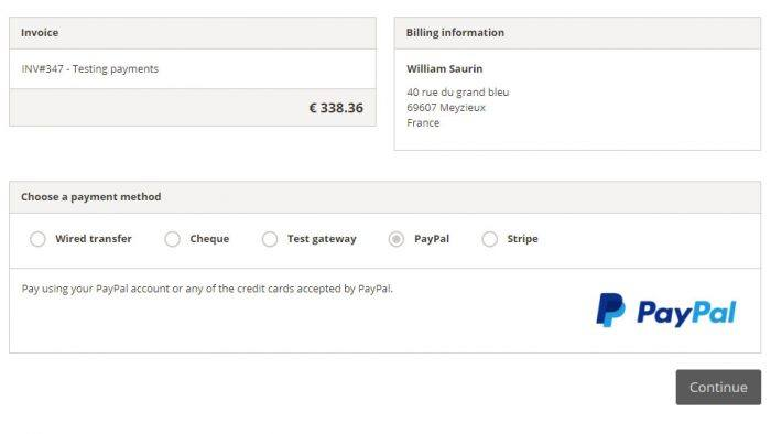 The checkout page showing the invoice, billing information, and the various payment methods. The available payment methods are wired transfer, cheque, test gateway, PayPal, and Stripe.