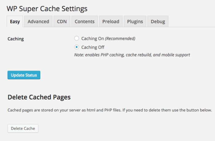 "The WP Super Cache Settings window opened on the ""Easy"" tab. That is where the simple settings, such as enabling or disabling caching, can be configured."
