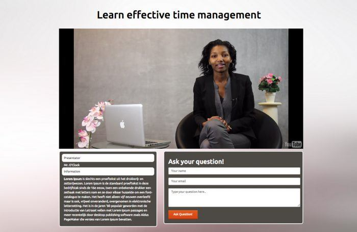 "A webinar title ""Learn effective time management."" There is a YouTube live webinar embedded in the middle of page, and at the bottom are two boxes, one with the audiences' questions and comments and the other with a question form."