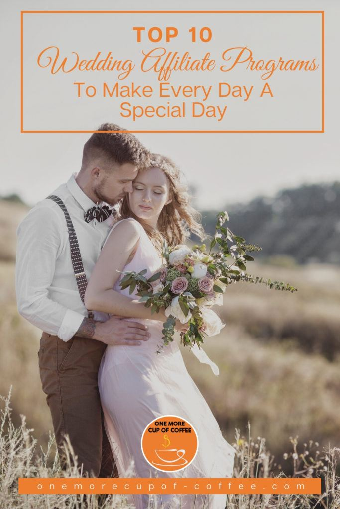wedding pictorial in countryside with text overlay