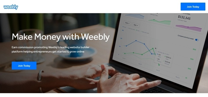 screenshot of the affiliate sign up page for Weebly